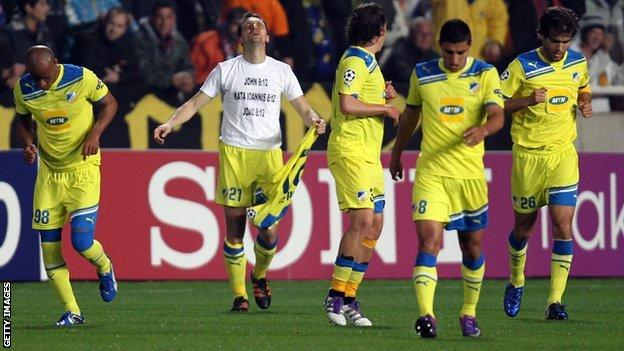 Apoel Nicosia celebrate after opening the scoring against Lyon in Cyprus