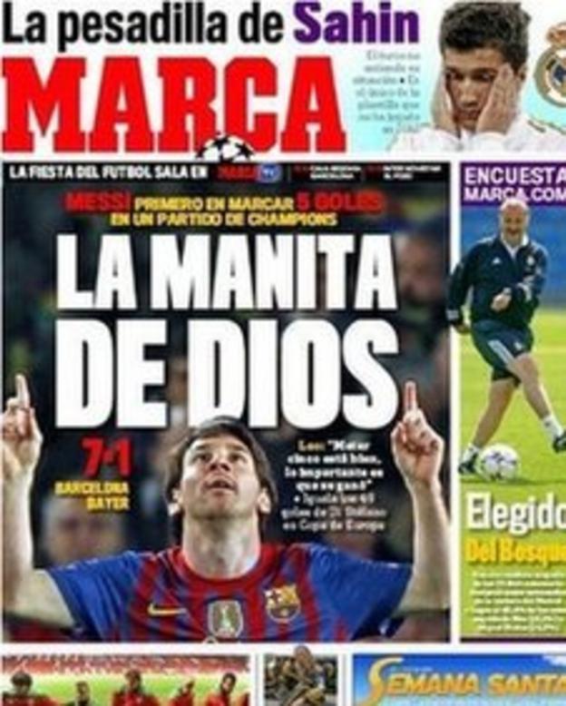 Spanish daily newspaper Marca hailed Messi's genius on Wednesday