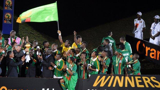 Zambia celebrate winning the Nations Cup in February 2012