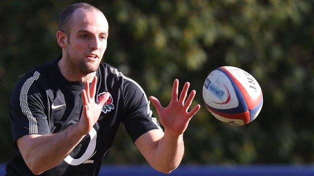 Charlie Sharples pictured training with England this week