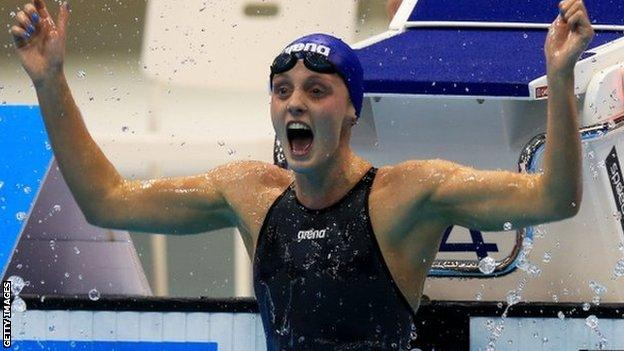 Fran Halsall after winning gold in the 50m freestyle final