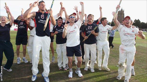 Lancashire celebrate after winning the 2011 County Championship