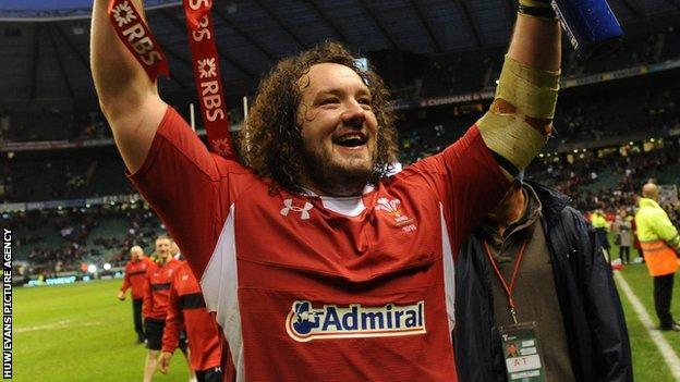 Adam Jones celebrating Wales securing the Triple Crown at Twickenham