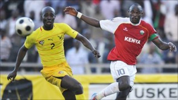 Kenya captain Dennis Oliech (right) in action against Togo