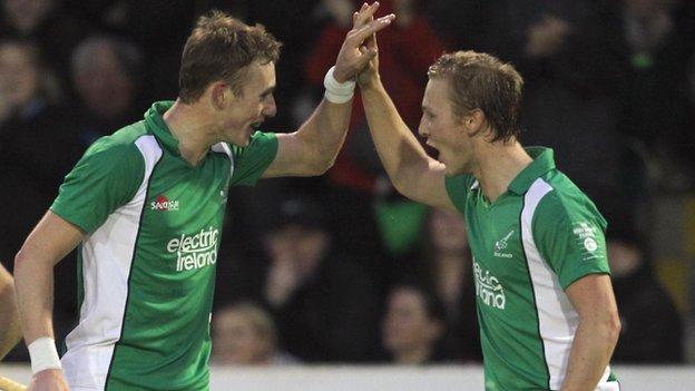 David Ames (left) celebrates his goal with Michael Watt