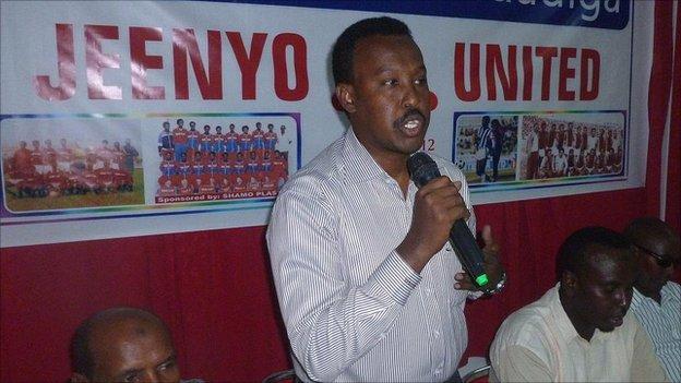 Somali Football Federation Abdi Qani speaks at the relaunch of Jeenyo United on Sunday