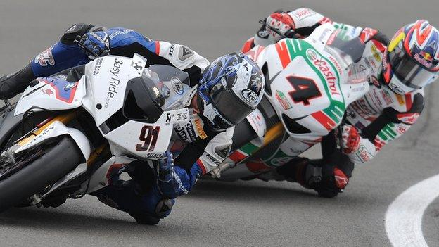 World Superbike action at Donington Park in 2011