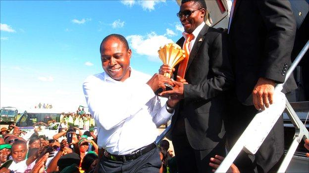 Zambian FA chief Kalusha Bwalya brings the Africa Cup of Nations trophy home