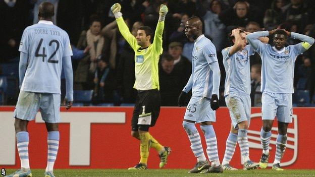 Manchester City players dejected