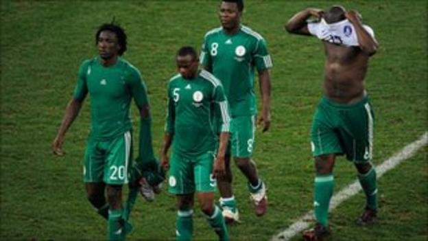 Nigeria players following their 2010 World Cup exit