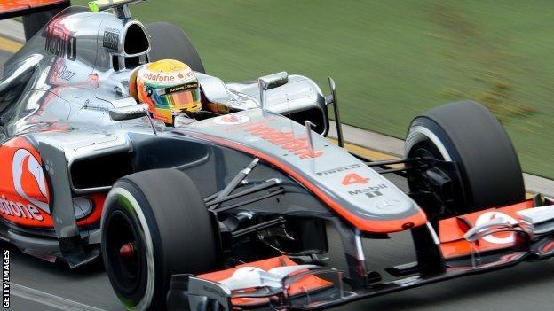 Lewis Hamilton drives in Australia