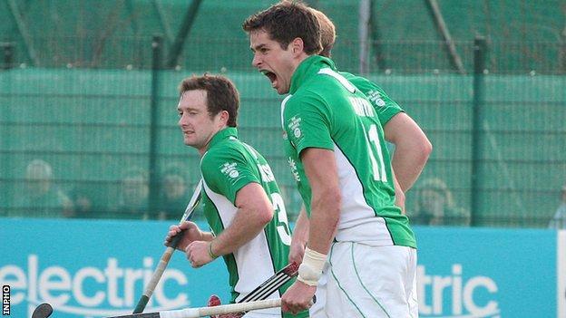 John Jermyn celebrates after equalising for Ireland on Saturday