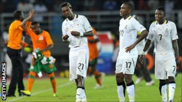 Ghanaian players react with disappointement to their semi-final defeat to Zambia