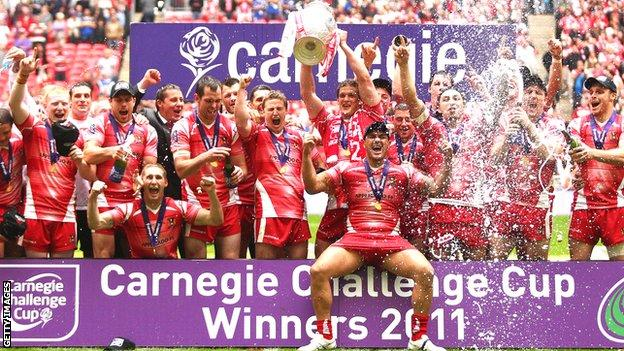 Wigan celebrate their 2011 Challenge Cup triumph