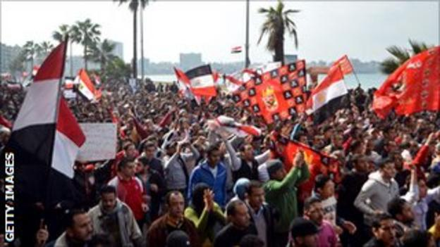 Al Ahly fans took to the streets in force to protest against the circumstances behind the Port Said tragedy