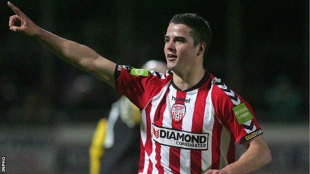 Stephen McLaughlin scored Derry's second goal at the Brandywell