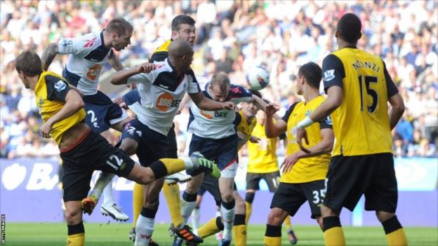 David Wheater of Bolton scores their second goal