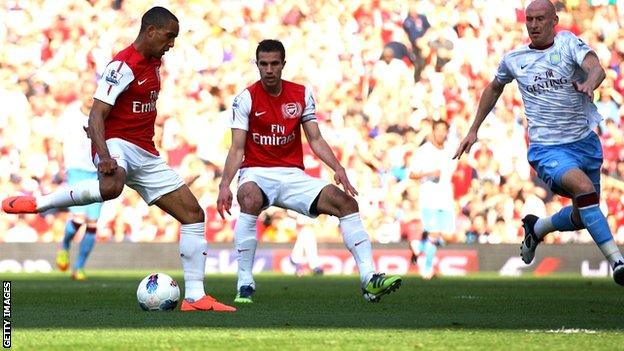 Theo Walcott scores for Arsenal against Aston Villa