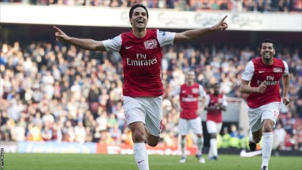 Arsenal's Mikel Arteta celebrates his goal against Aston Villa