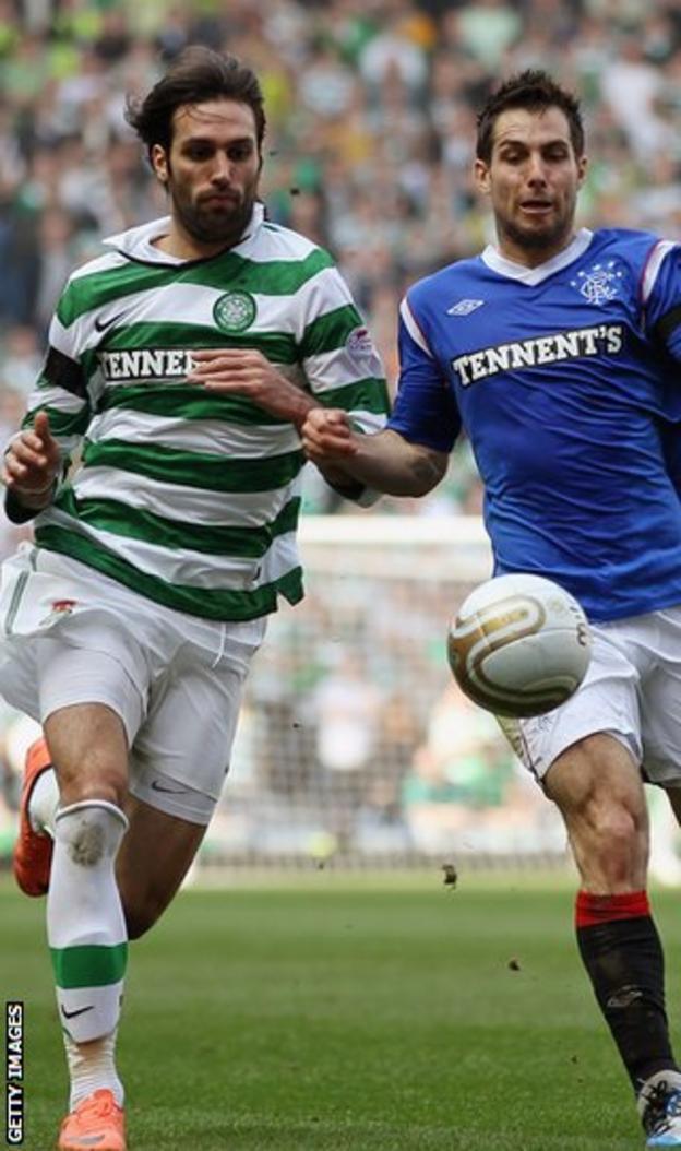 Celtic striker Georgios Samaras and Rangers defender Carlos Bocanegra
