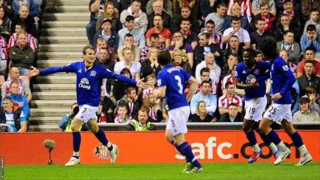 Everton's Nikica Jelavic (left) celebrates with his team-mates after scoring