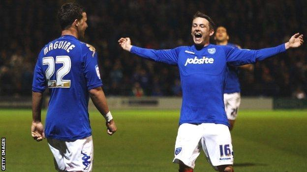 Portsmouth's Chris Maguire (left) and Scott Allan.