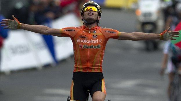 Samuel Sanchez winning a stage of the Tour de France 2011