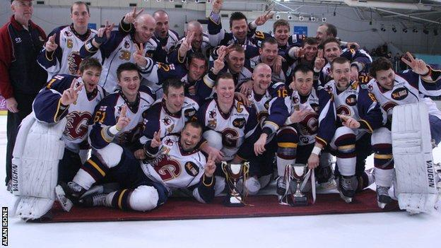 The Guildford Flames celebrate their League and Cup double