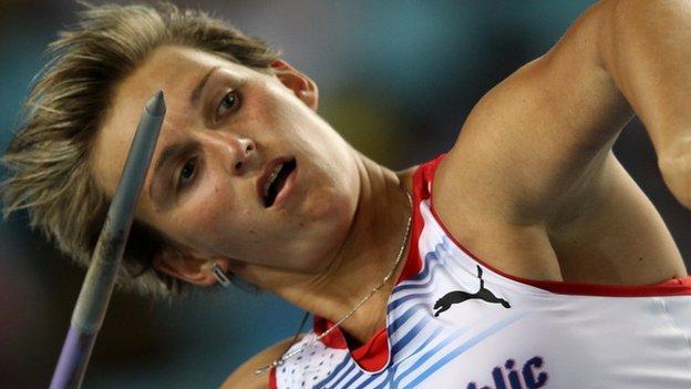 Barbora Spotakova throwing the javelin at the 2011 World Championships