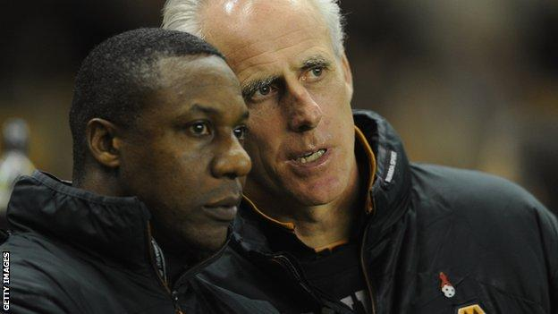 Former Wolves manager Mick McCarthy with current boss Terry Connor