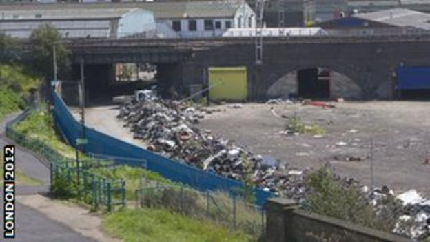 The Olympic Park wasteland in April 2009