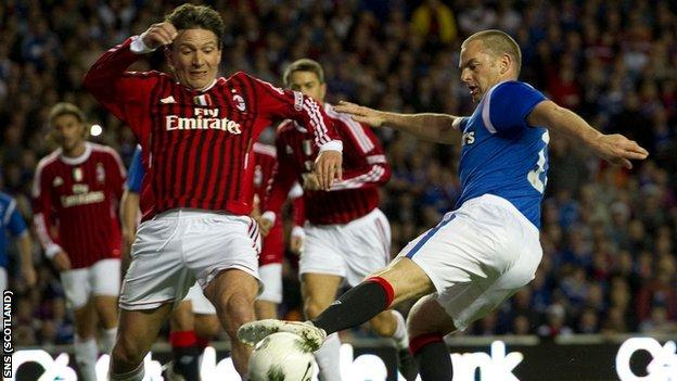 Ronald de Boer played for Rangers Legends in an exhibition match against AC Milan Glorie
