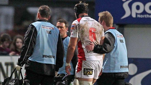 Stephen Ferris limps off against Aironi