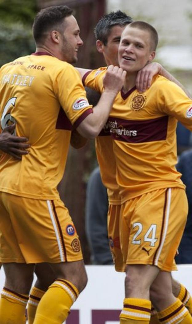 Ojamaa (right) celebrates after opening the scoring for Motherwell