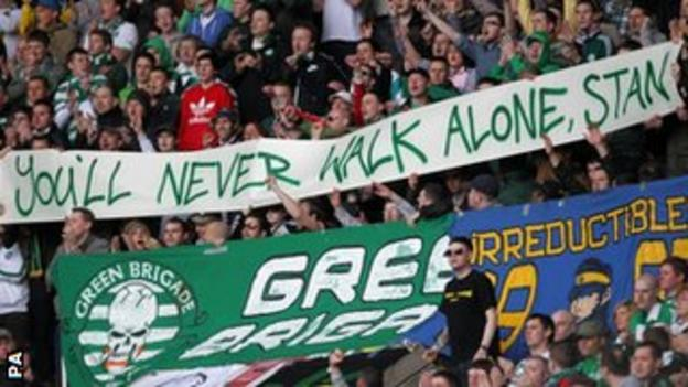 Celtic fans sent a message of support to Stilian Petrov
