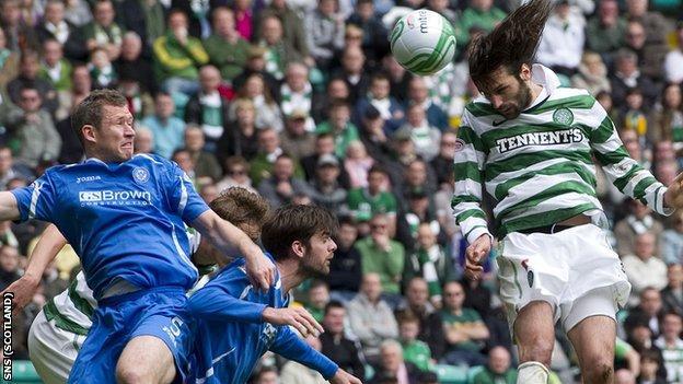 Georgios Samaras headed Celtic in front against St Johnstone on Sunday