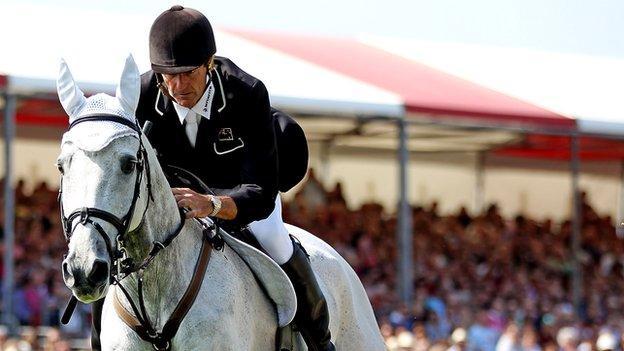 Mark Todd riding at Badminton Horse trials on NZB Land Vision