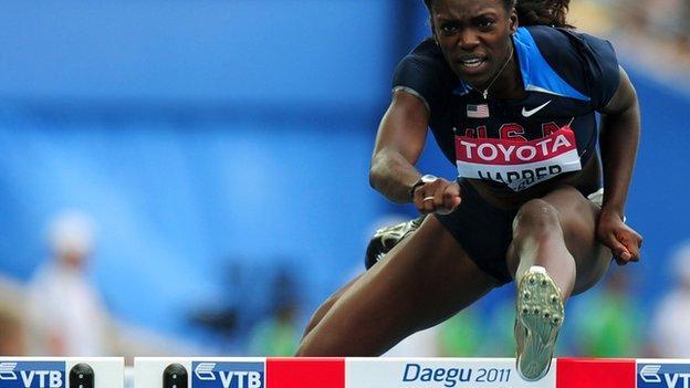 Dawn Haper hurdling
