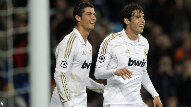 Real Madrid's Cristiano Ronaldo and Kaka