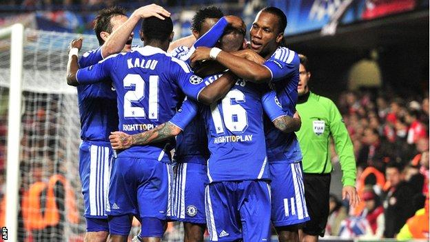 Chelsea celebrate their victory over Benfica