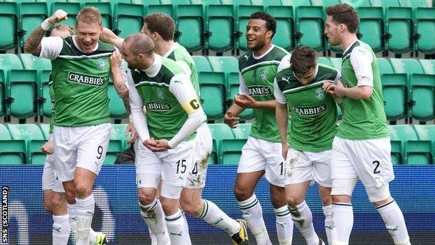 Hibernian players celebrate Garry O'Connor's goal against Motherwell