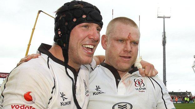 Stephen Ferris and Tom Court celebrate the victory over Munster