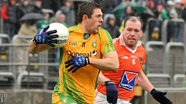 Donegal's Ryan Bradley attempts to burst away from Ciaran McKeever at Ballybofey