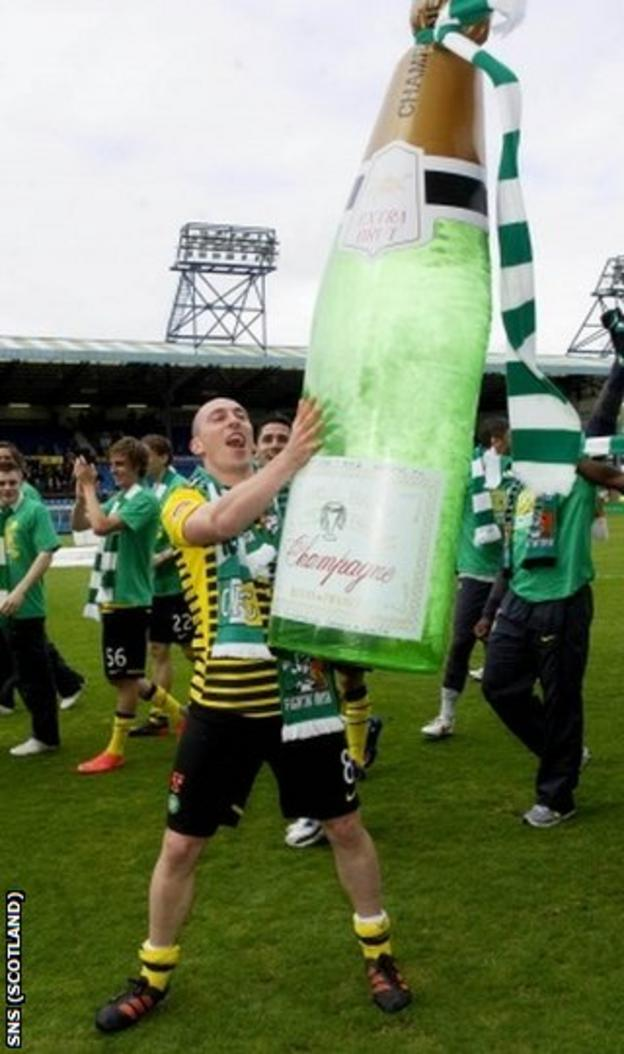 Celtic captain Scott Brown starts the celebrations at Rugby Park
