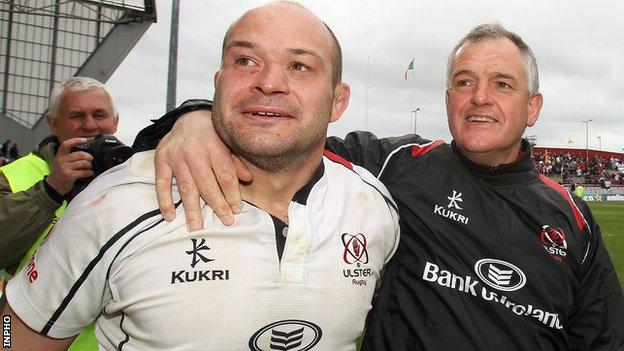 Rory Best and Brian McLaughlin celebrate Ulster's win over Munster