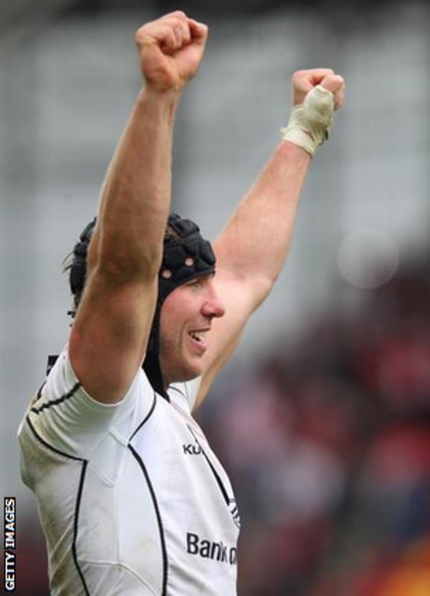 Stephen Ferris celebrates victory over Munster