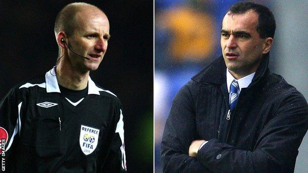 Referees' chief Mike Riley and Wigan Athletic manager Roberto Martinez