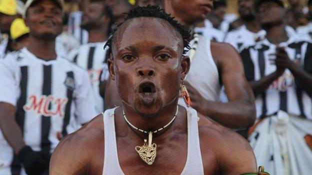 A TP Mazembe fan at Sunday's match against Power Dynamos