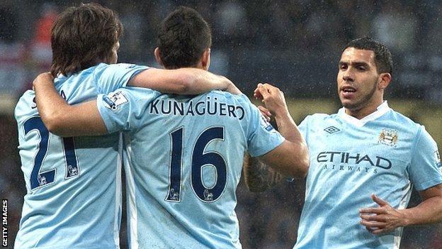 City goalscorers David Silva (left), Sergio Aguero (centre) and Carlos Tevez (right)