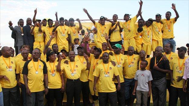Power Dynamos celebrating winning the 2011 Zambian league title